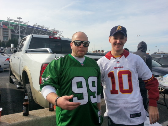The Brain Trust of The Sports Column, Jeff Powers and Brett Dickinson, heading to the Eagles at Redskins game 11/18/12