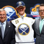 Jack Eichel poses after being selected 2nd.  overall in the 2015 NHL Draft (Photo by Bruce Bennett/Getty Images)