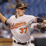 Jun 8, 2013; St. Petersburg, FL, USA; Baltimore Orioles starting pitcher Kevin Gausman (37) throws a pitch during the second inning against the Tampa Bay Rays at Tropicana Field. Mandatory Credit: Kim Klement-USA TODAY Sports